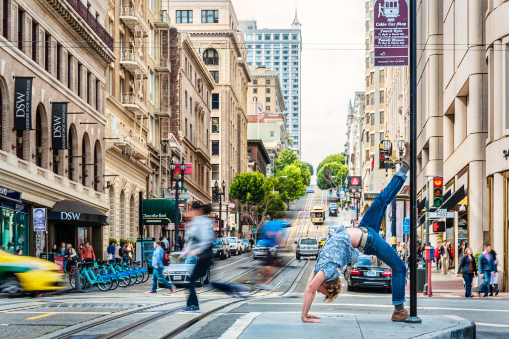 Downtown San Francisco Yoga photo shoot Brandon Smith
