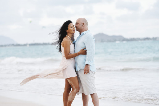 Couple embracing at Kailua Beach Park